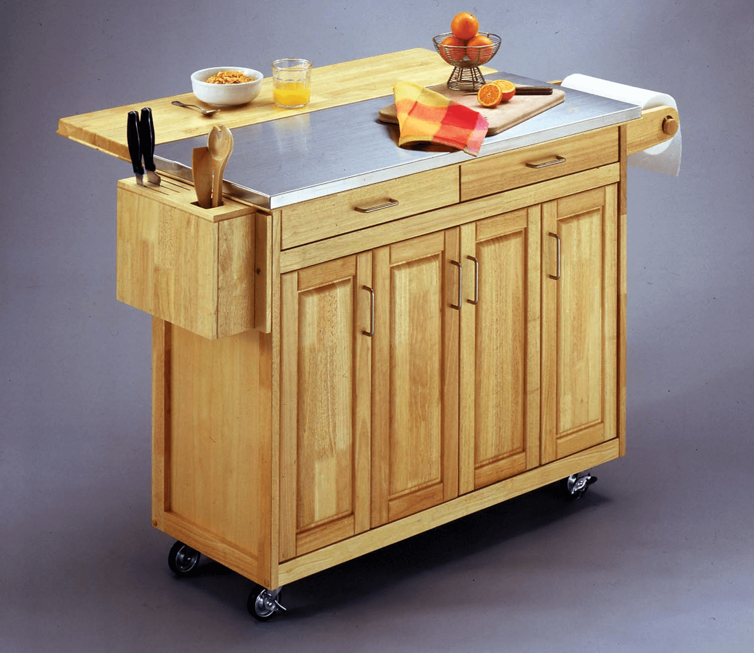 Natural Home Styles Kitchen Island with Breakfast Bar stainless