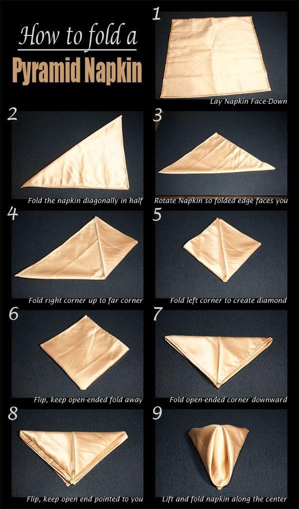 Napkins are a great way to add color and style to a table.    DIY Pyramid Napkin Fold DIY Pyramid Napkin Fold #napkinfoldingideas