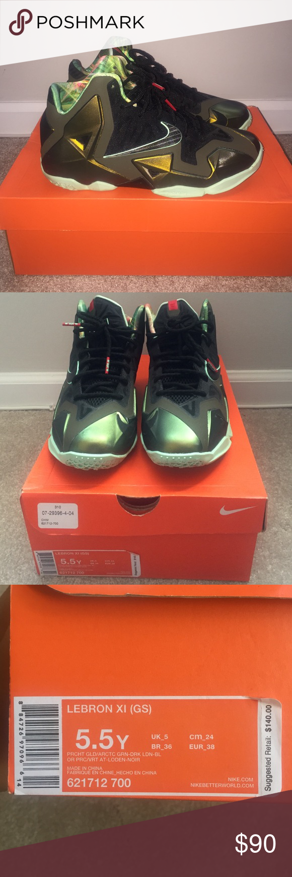 newest collection 616b2 913a5 Nike Lebron XI (GS) Nike Lebron XI. Basketball sneakers. Gold green