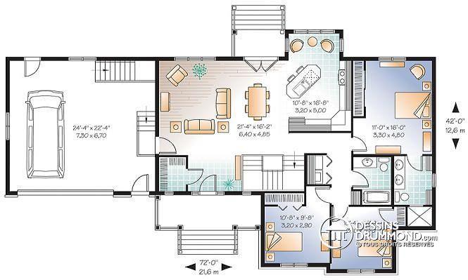 Plans De Maisons Avec Chambre Au Rez De Chaussee Et Garage Double Google Search Bungalow House Plans Ranch House Plans Courtyard House Plans