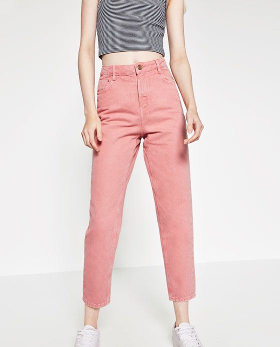 c45a2284 Image 4 of MOM-FIT TROUSERS from Zara | color block | Mom jeans ...