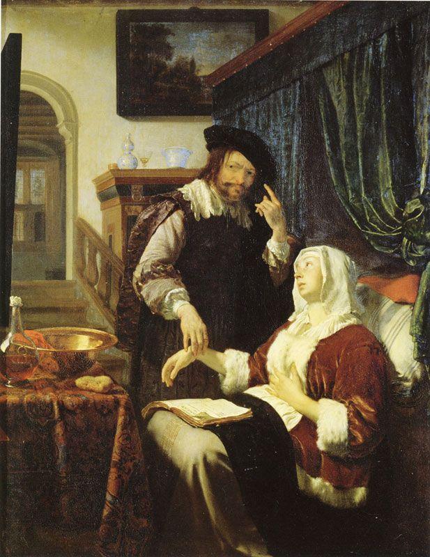 """La visita del doctor (""""Visit of the physician""""). Frans Miréis el Viejo. 1657. Localización: Kunsthistorisches Museum (Viena). https://painthealth.wordpress.com/2016/07/19/la-visita-del-doctor-4/"""