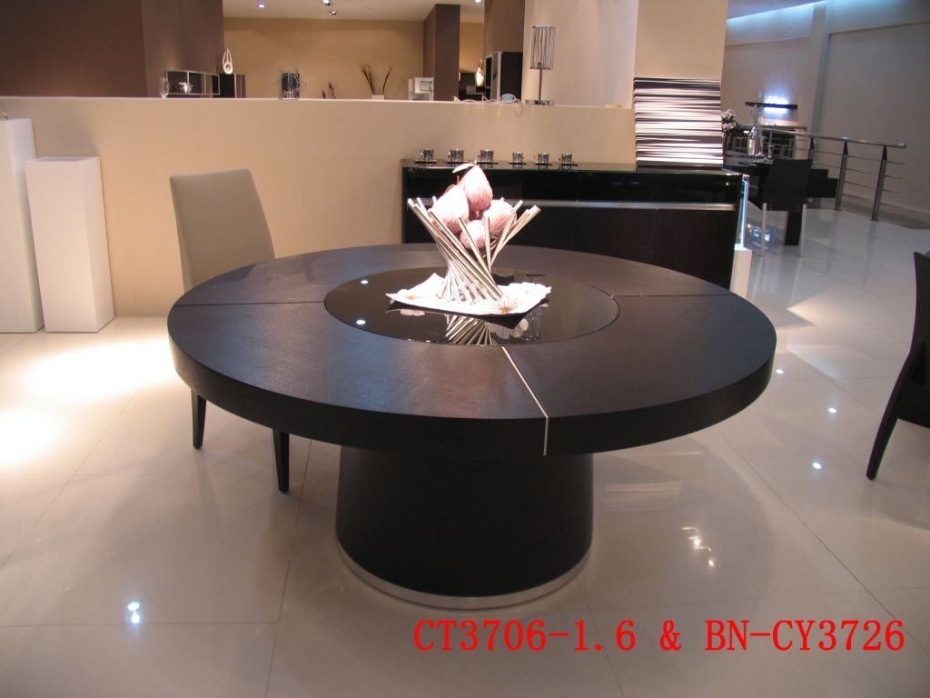 Modern Round Burl Wood Dining Table With Seating For Six Large Seats 10 Xtu9c