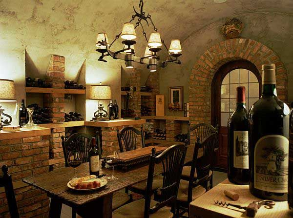 rustic rough mediterranean dining room design with wine storage