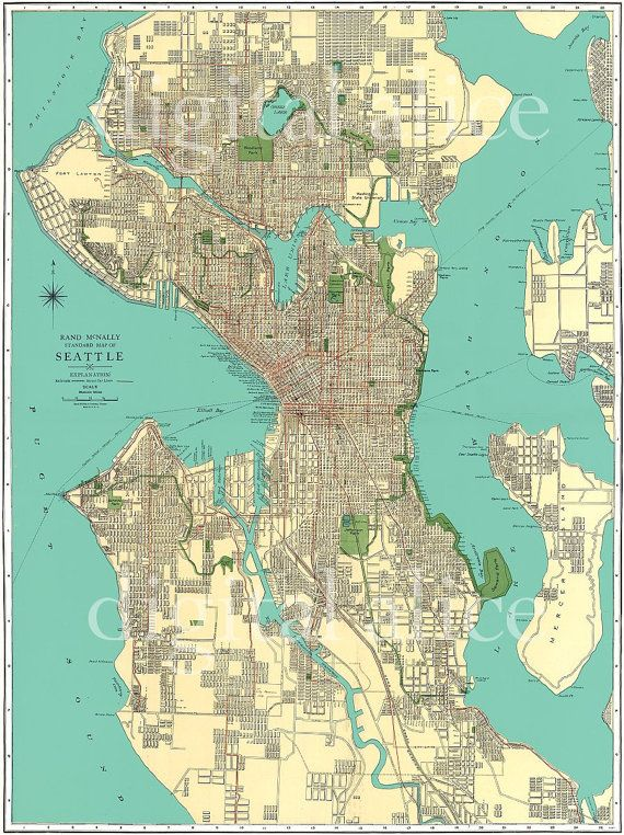 Vintage 1920\'s SEATTLE STREET MAP - City of Seattle Washington ...