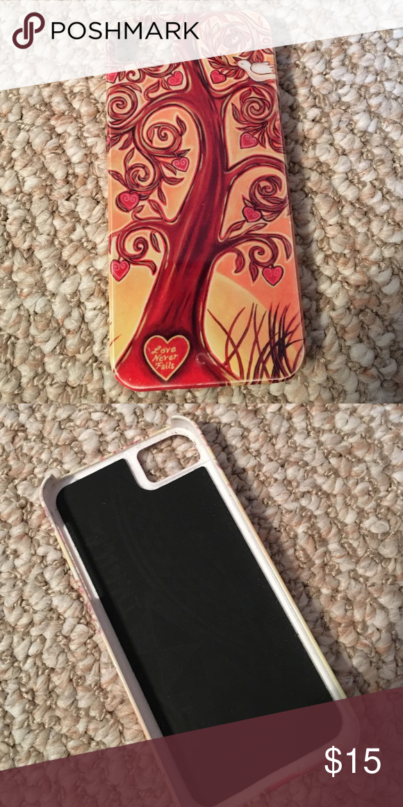"iPhone 5 case Beautiful and unique iPhone 5 case. Artsy tree with a heart ❤️ on the trunk that says ""love never fails"". I LOVE this case and never got rid of it even though I have an iPhone 6 now. But it's time for someone else to love it. Accessories Phone Cases"