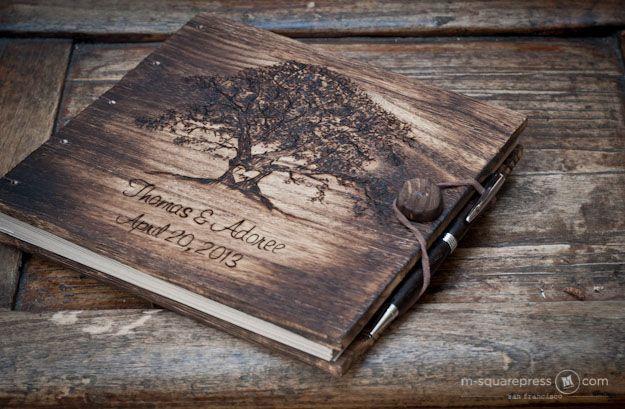 Rustic Oak Tree Guest Book And Pen Set