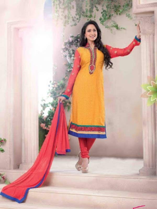 Yellow & Rust Color Brasso Salwar Suit http://www.fabefy.com/yellow-rust-color-brasso-salwar-suit.html