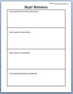 super sentences worksheet | Language Arts | Teaching writing