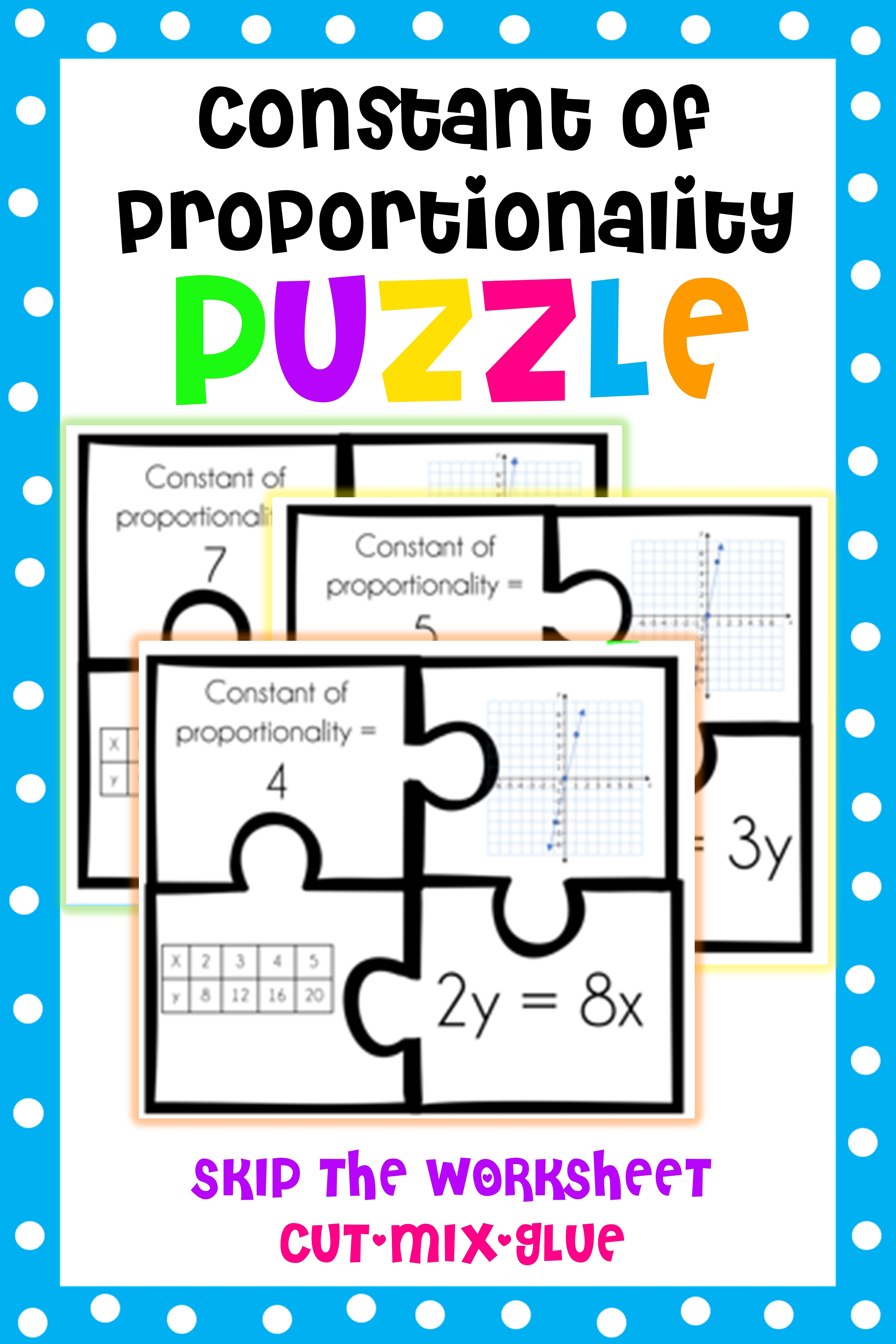 Constant Of Proportionality Puzzle