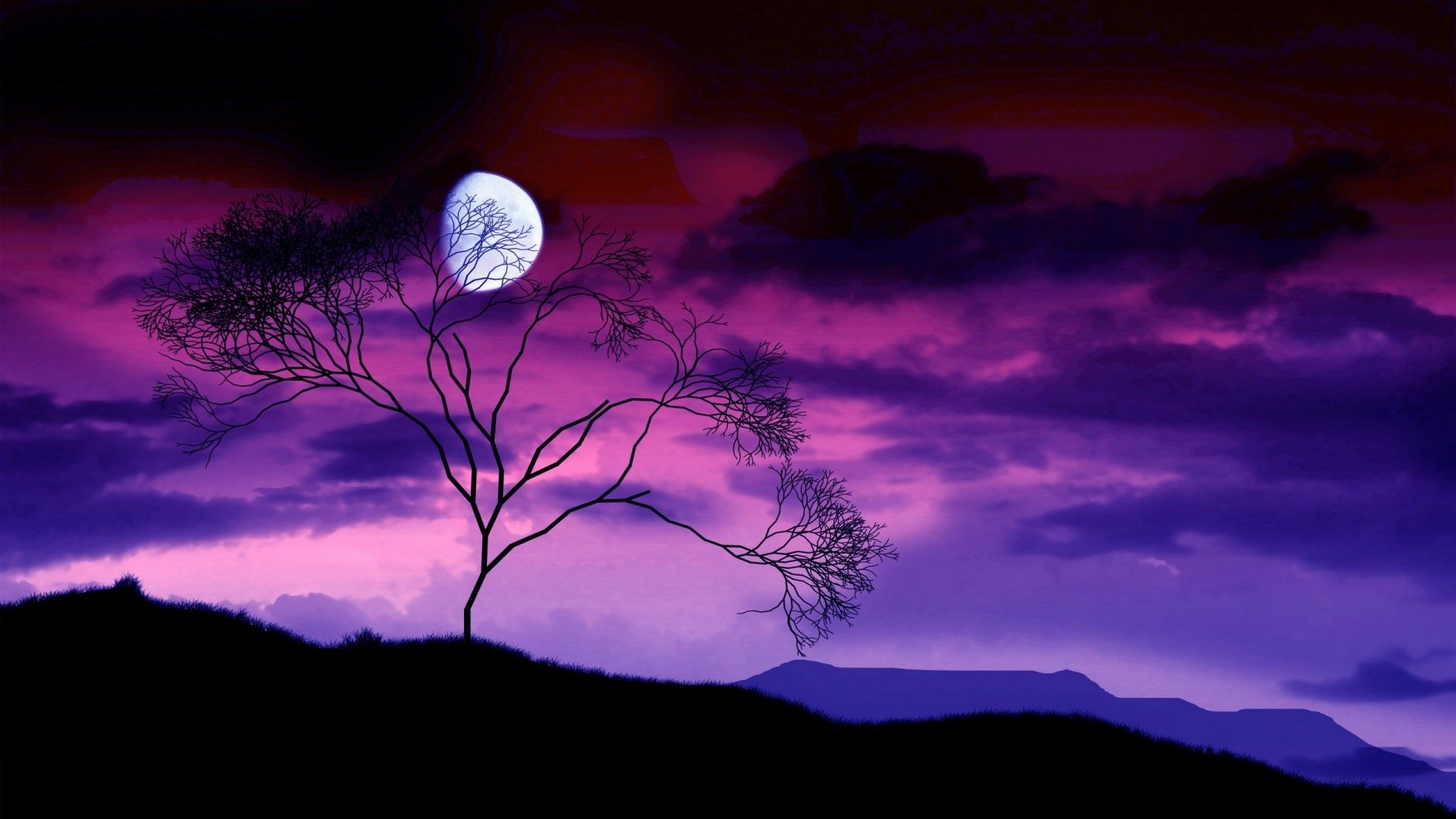 Beautiful Night Time Scary Night Sky Or Romantic Or Fantasy Moon Night Pink Violet Purple Beautiful Night Sky Landscape Pictures Beautiful Moon