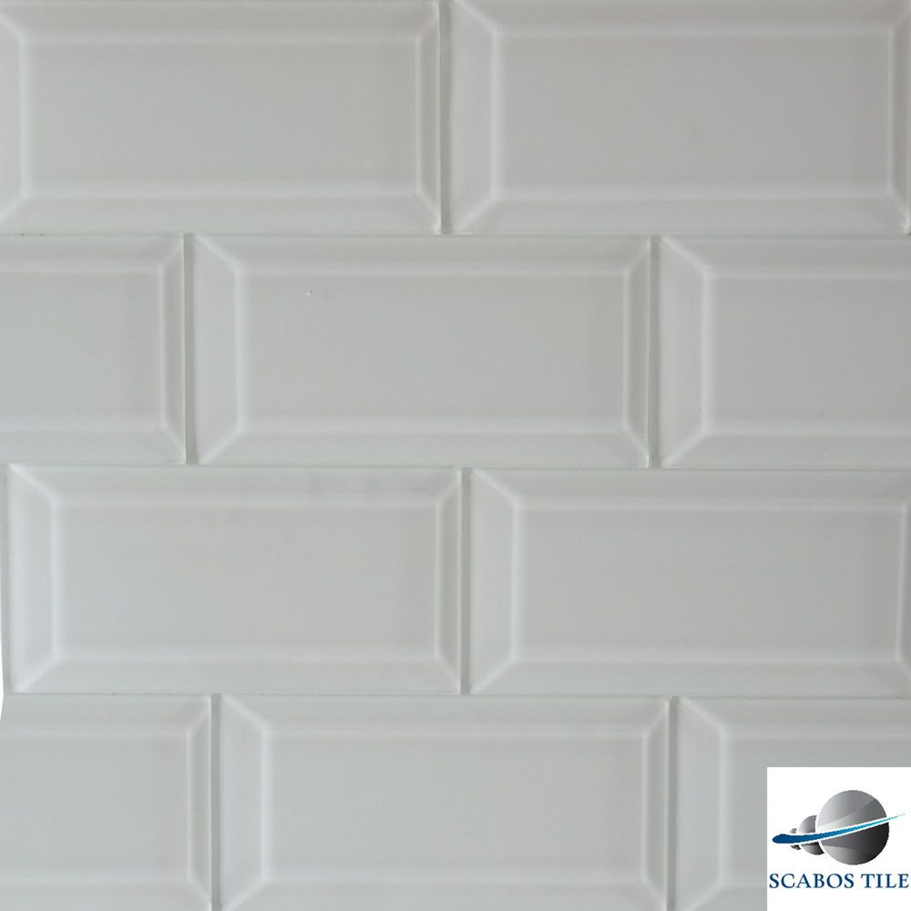 White Glass Beveled Subway Tile 3x6 Kitchen Backsplash Bathroom