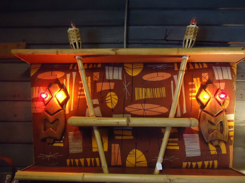 tiki lighting. Hawaiian Tropical Bark Cloth Bamboo Shelf With Tiki Lights \u0026 Torches Lighting