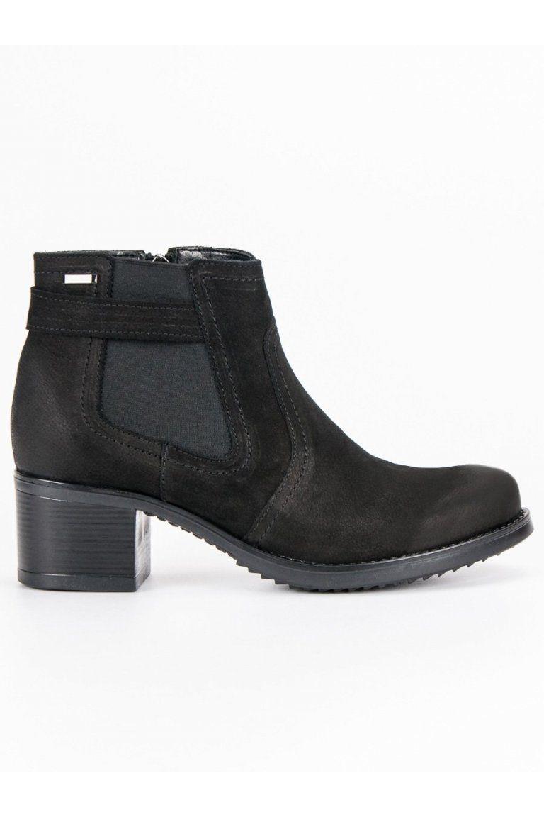 baab57914108 Čierne topánky pre dámy kožené pérka na hrubom opätku VINCEZA ...