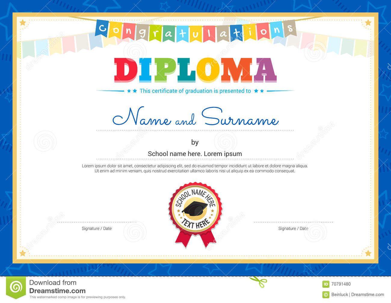 Plantilla Colorida Del Certificado Del Diploma Para Los Niños En ...