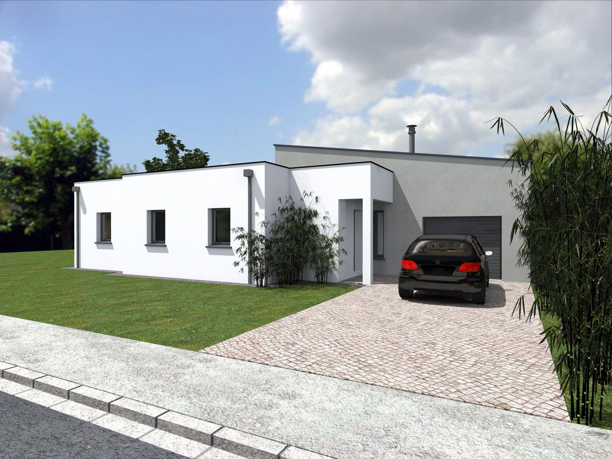 façade avant du modèle de maison Alliance Construction baptisé Telma ...
