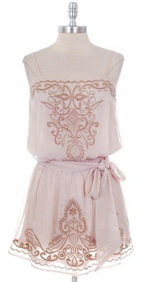 Beige & Tan Embroidered Chiffon Dress