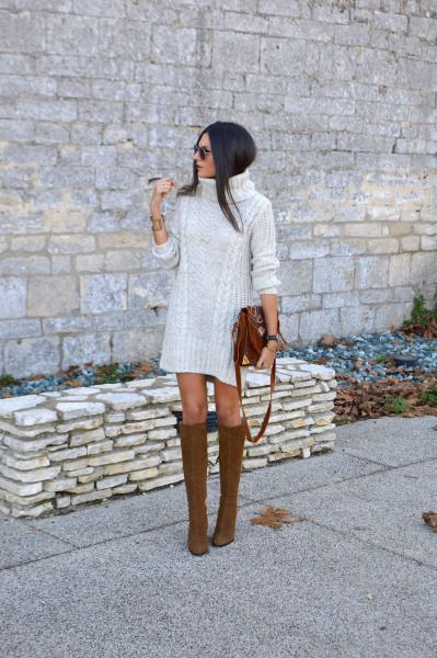 33181a4dcd1c1 justthedesign: Turtleneck sweater dresses are always a winner. Wear a cream  dress with leather boots to simulate Federica L.'s look. Sweater Dress: H &  M, ...