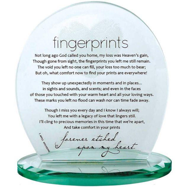 Not Long Ago God Called You Home Fingerprints Glass Plaque Sonny