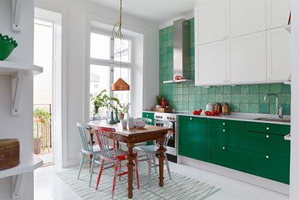 Keuken in het groen keuken pinterest ikea keuken keuken en tegels - Interieurontwerp thuis kleur ...