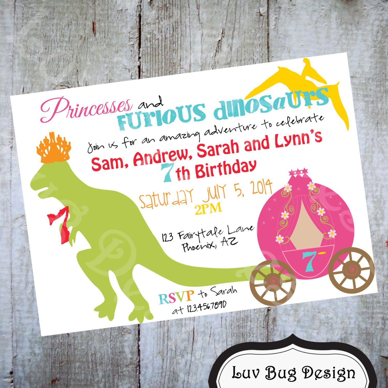 Dinosaur and Princesses Birthday Party Invitation Printable Invite