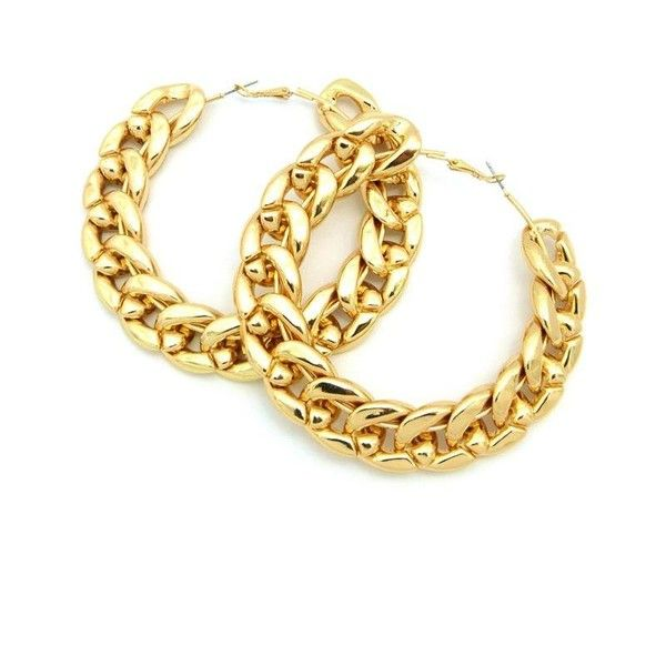 Gold Rope Chain Hoop Earrings Liked On Polyvore
