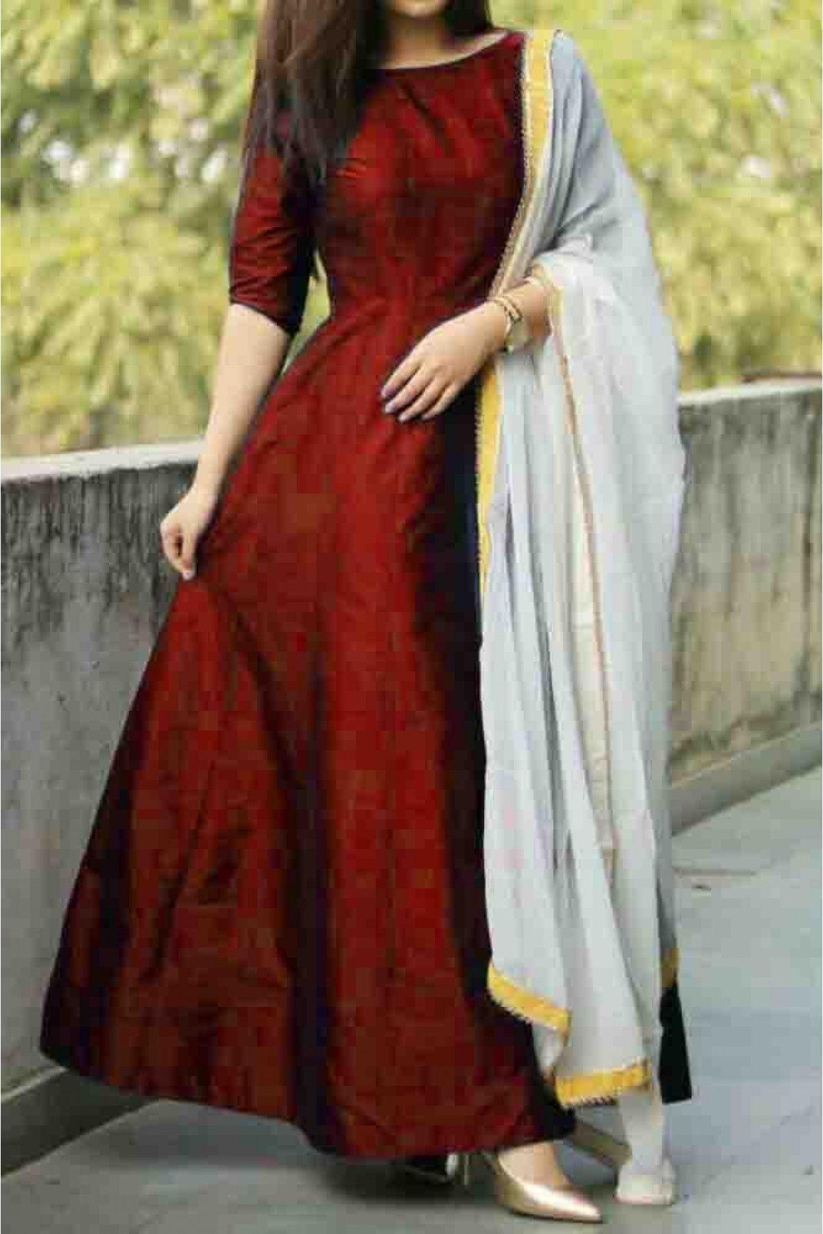 Taffeta Silk Anarkali Suit In Maroon Colour Silk Anarkali Suits
