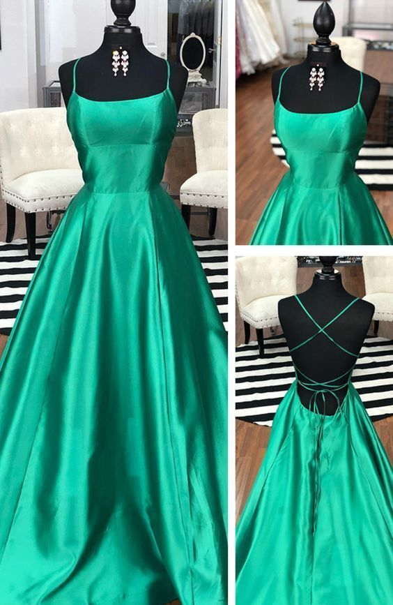 Strappy Green Long Graduation Dress with Lace Up   ML4299 -   15 dress Graduation green ideas