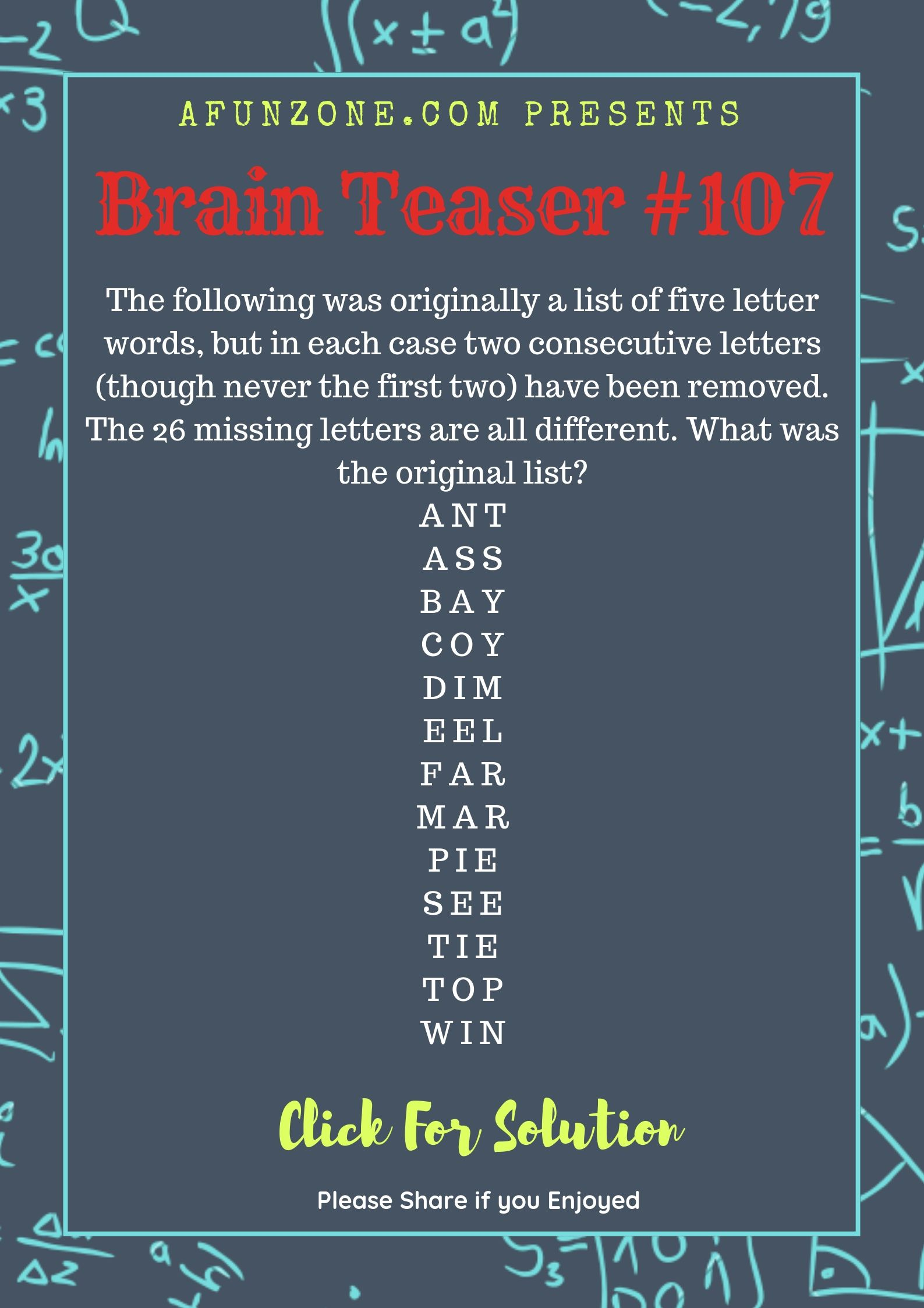 Today S Topic Brainteaser Puzzle Education Letters