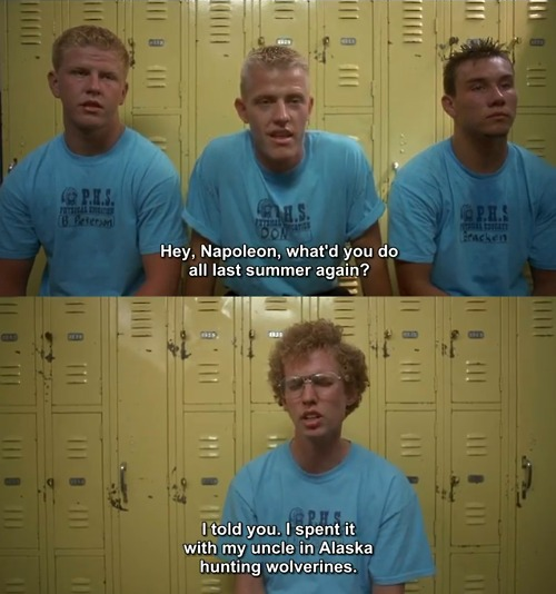 Image result for napoleon dynamite gif hunting wolverines