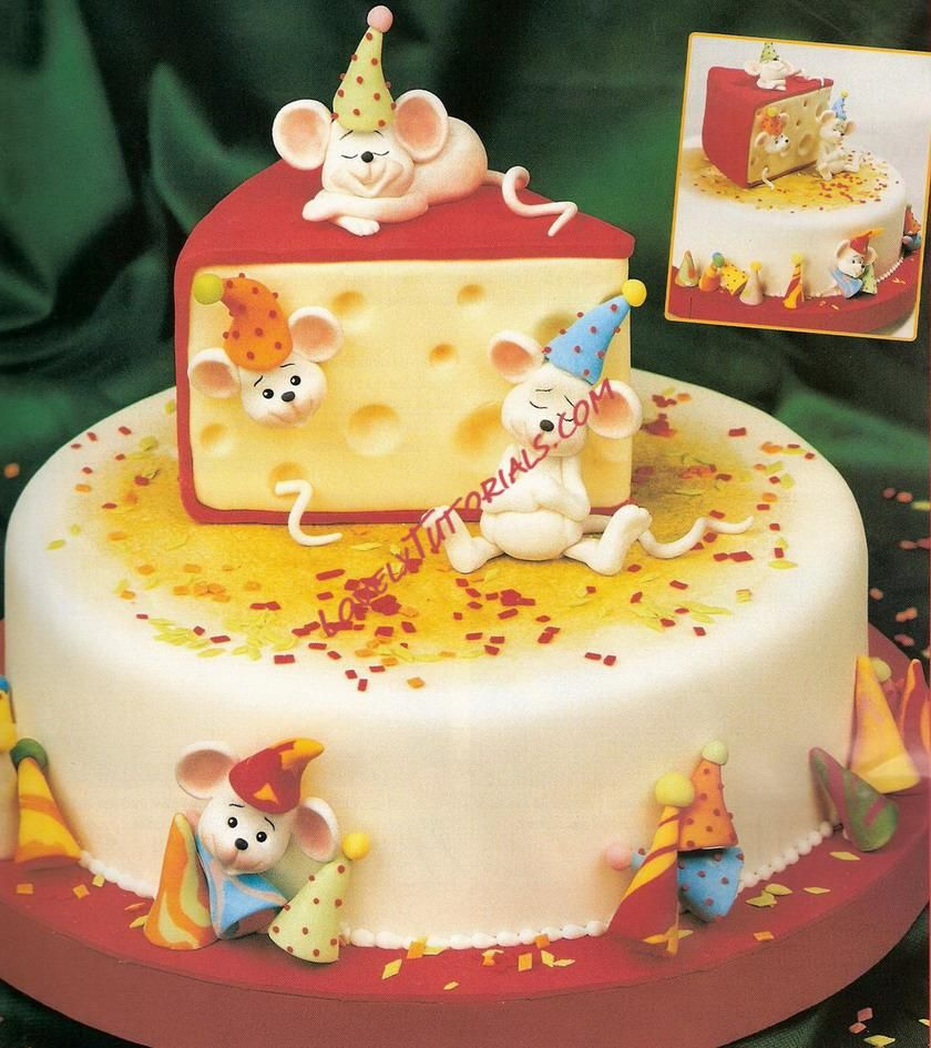 Cheese And Mice Cake Tutorial With Images Fondant Cake Designs