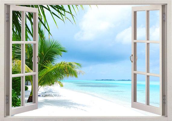 island beach wall decal 3d window, tropical beach palm tree wall