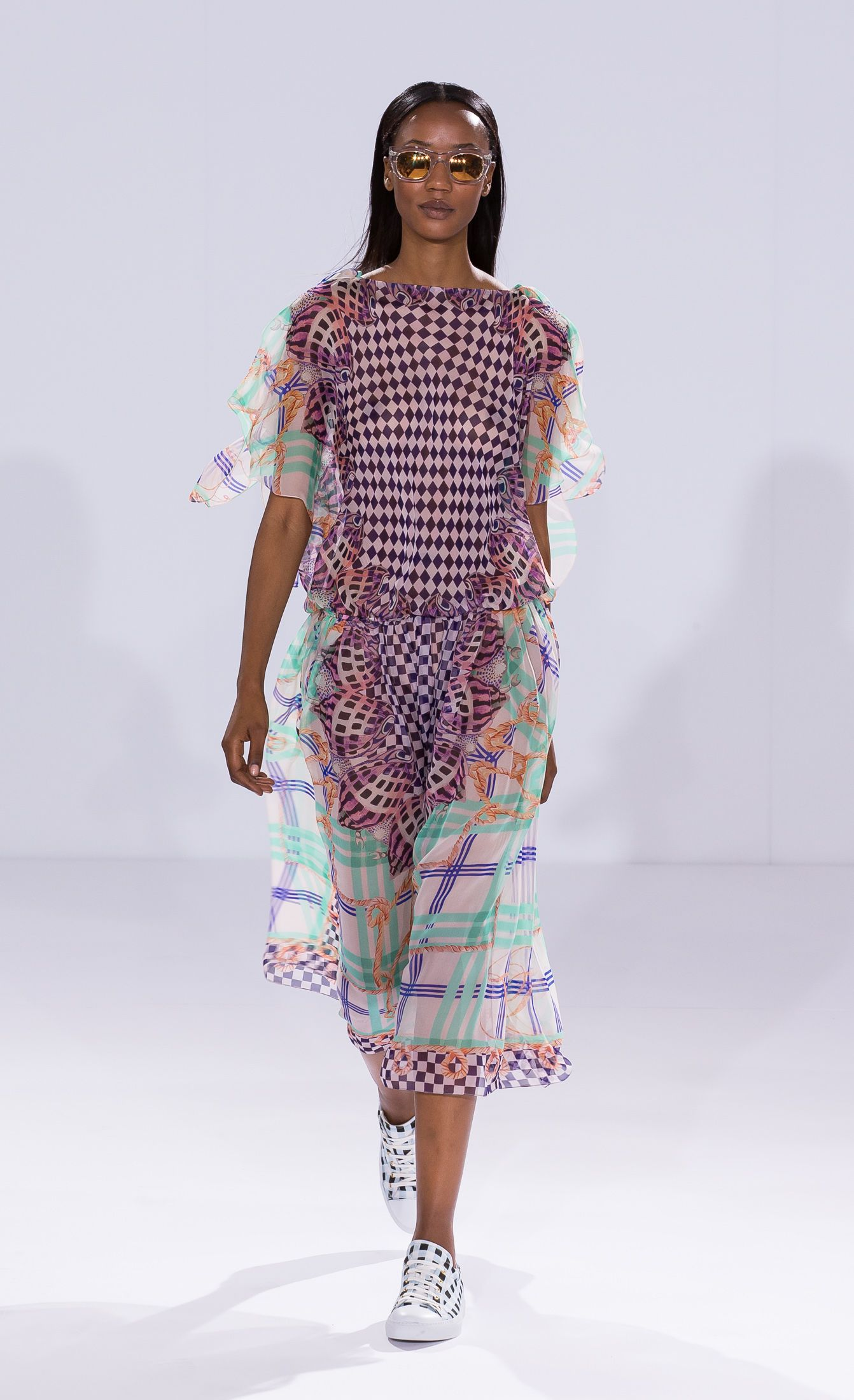 Temperley London Summer 15, Shell Check Scarf Dress, Check Canvas Lace Ups