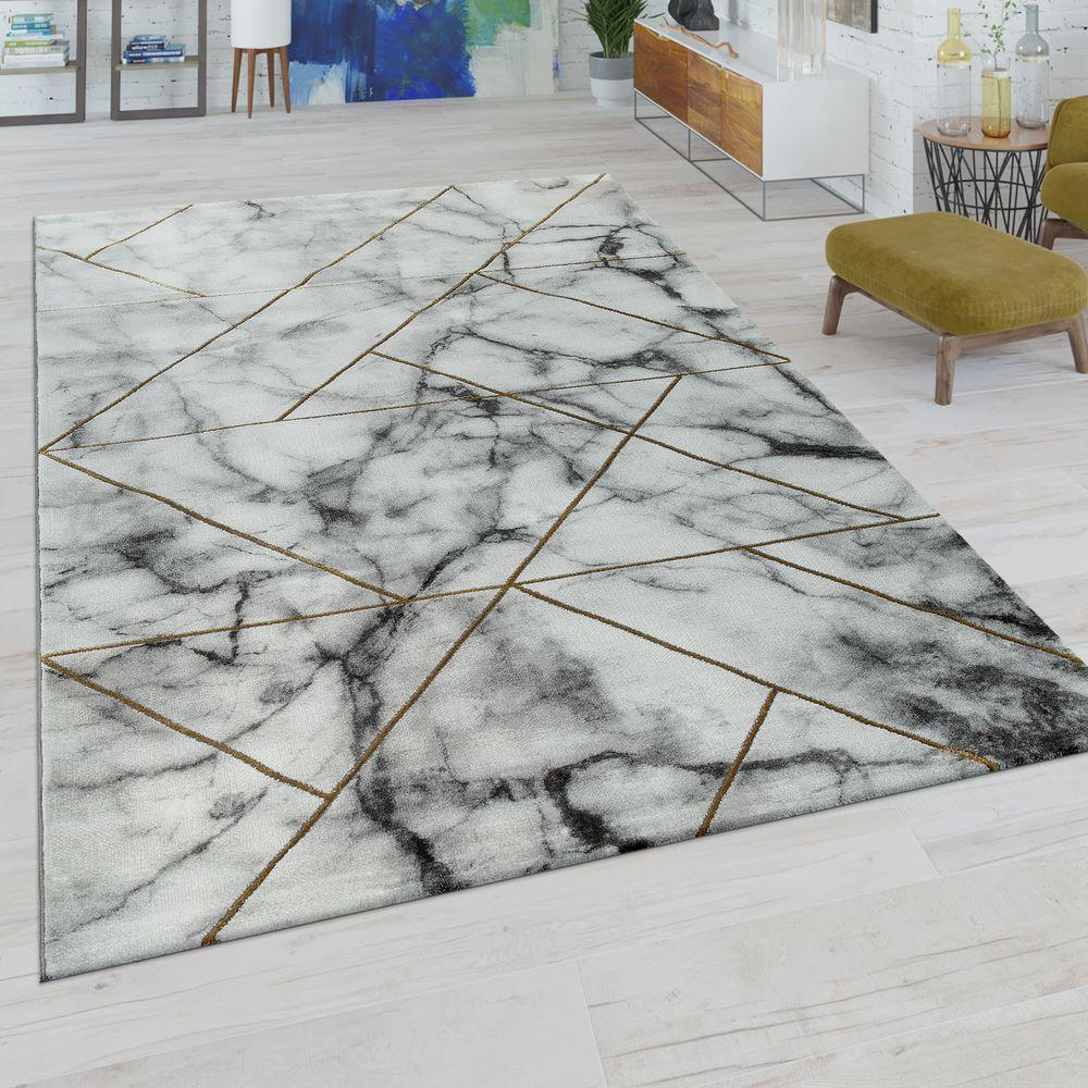 KurzflorTeppich Marmor Design Grau Gold Teppich design