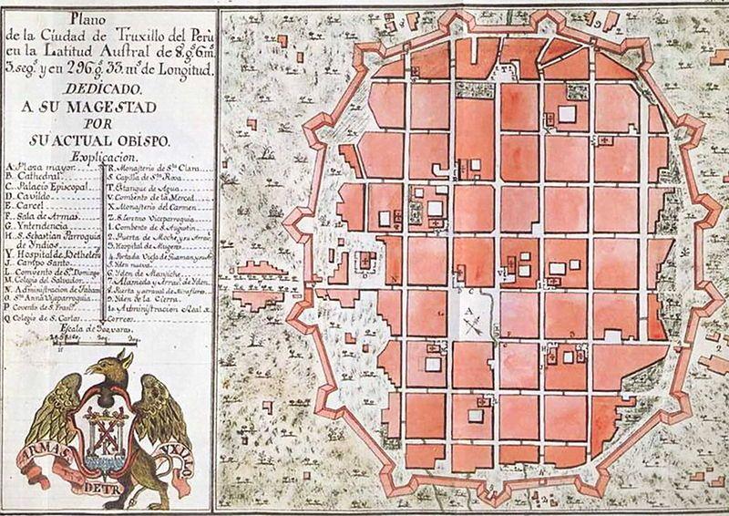 Plano Trujillo 1786 Centro Histórico De Trujillo Perú Wikipedia La Old Maps Map Trujillo