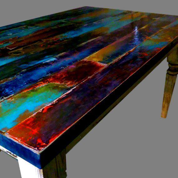Boho Hippie Jewel Tones On A Painted Farm House Table