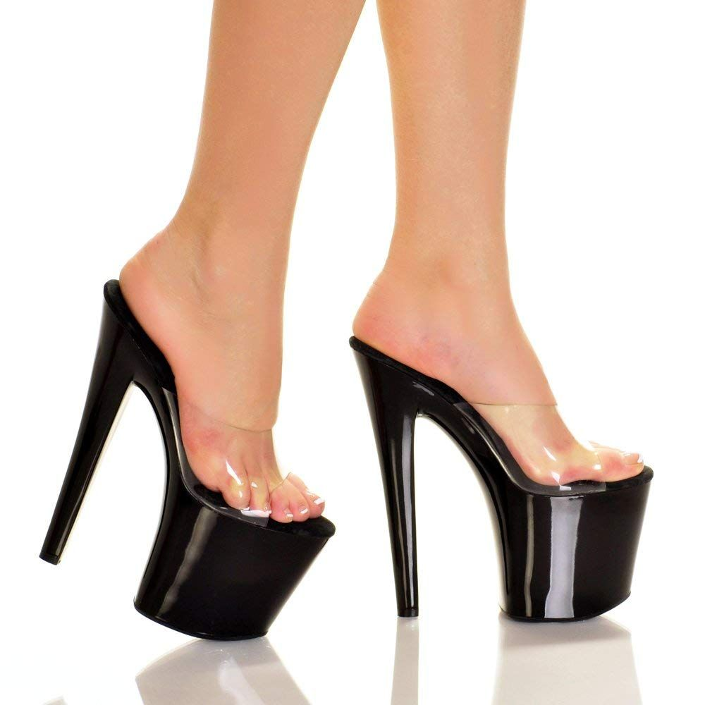 39a05cfbf Highest Heel FANTASY-81-SLD Women s 7 1 2  Platform W Clear Vinyl Upper - BLACK  BOTTOM - 6     Very nice of your presence to drop by to view the picture.