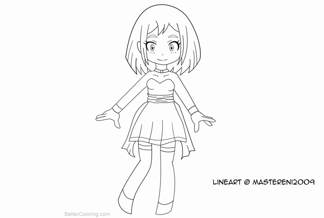 My Hero Academia Coloring Pages Luxury Chibi My Hero Academia Coloring Pages Ochako Uraraka By Mastereni2009 Fre Cat Coloring Page Sketch Free Character Sketch