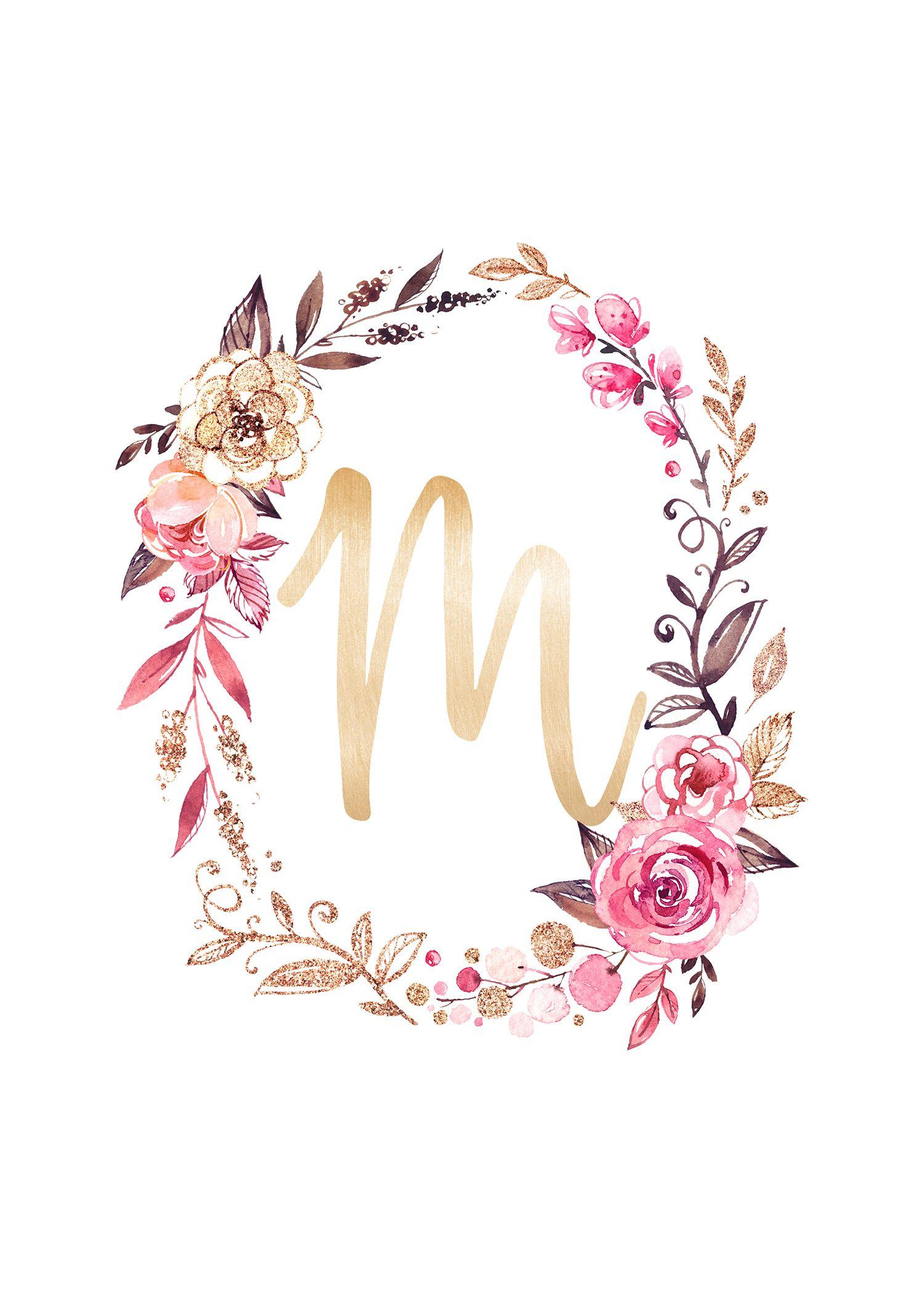 Free Glitter And Glam Monogram Printables The Cottage Market Monograma Papel De Parede Impressao Livre Letras Com Flores
