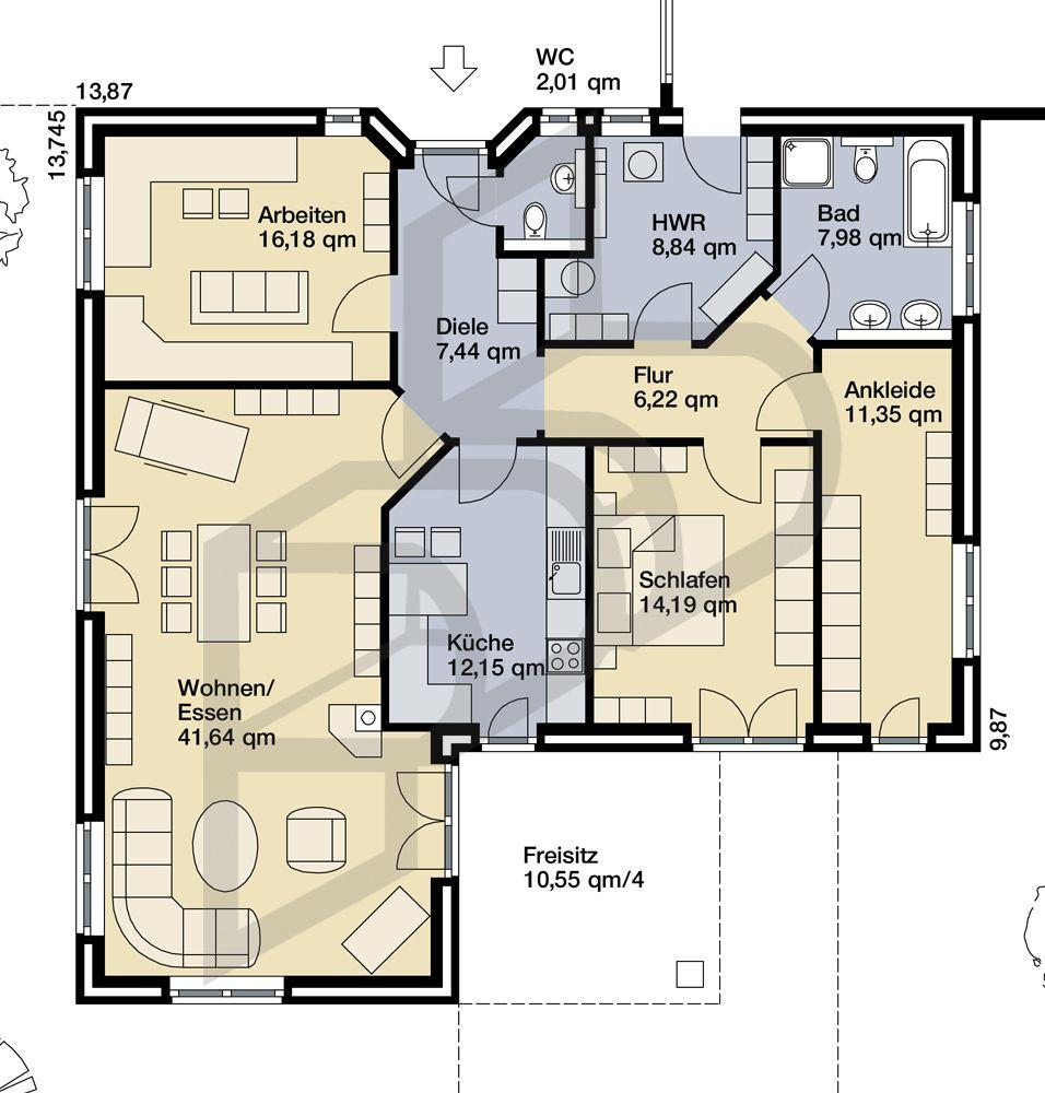 Grundriss bungalow l-form  Hausidee vom Typ Bungalow Nr. 10111 von parc bauplanung GmbH ...