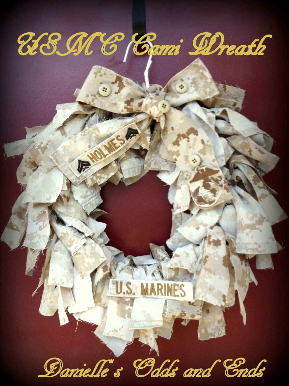 Danielles Odds And Ends Military Cami Wreath Diy Instructional