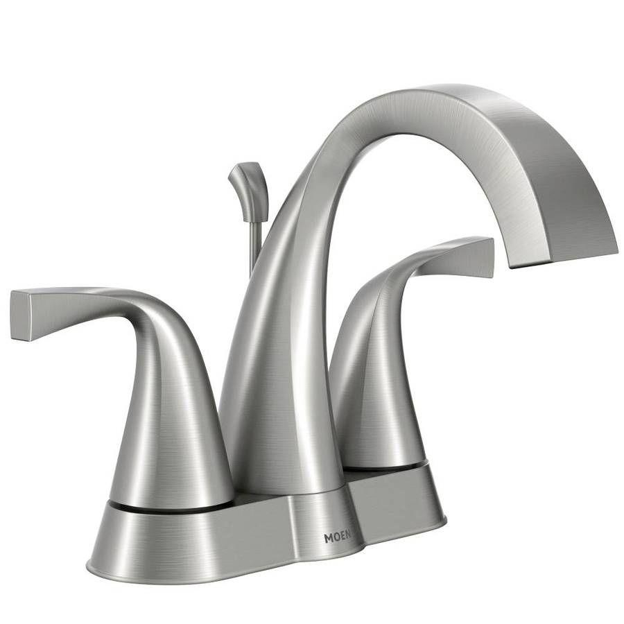 Shop Moen Oxby Spot Resist Brushed Nickel 2 Handle 4 In Centerset Watersense Bathroom Sink Faucet Drai Diy Bathroom Remodel Moen Bathroom Faucets Sink Faucets [ 900 x 900 Pixel ]