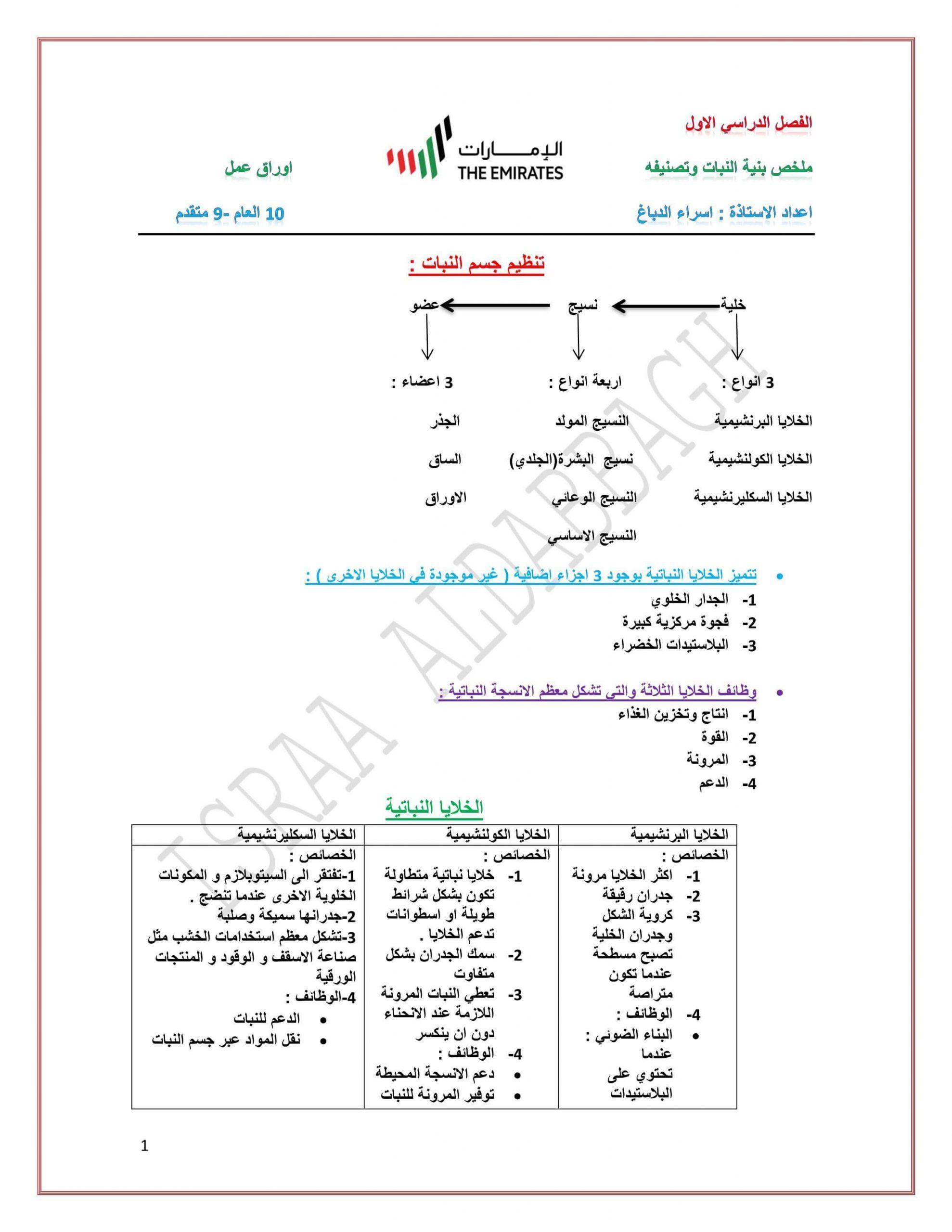 ملخص واوراق عمل بنية النبات وتصنيفه الصف التاسع مادة الاحياء Chart Map Line Chart