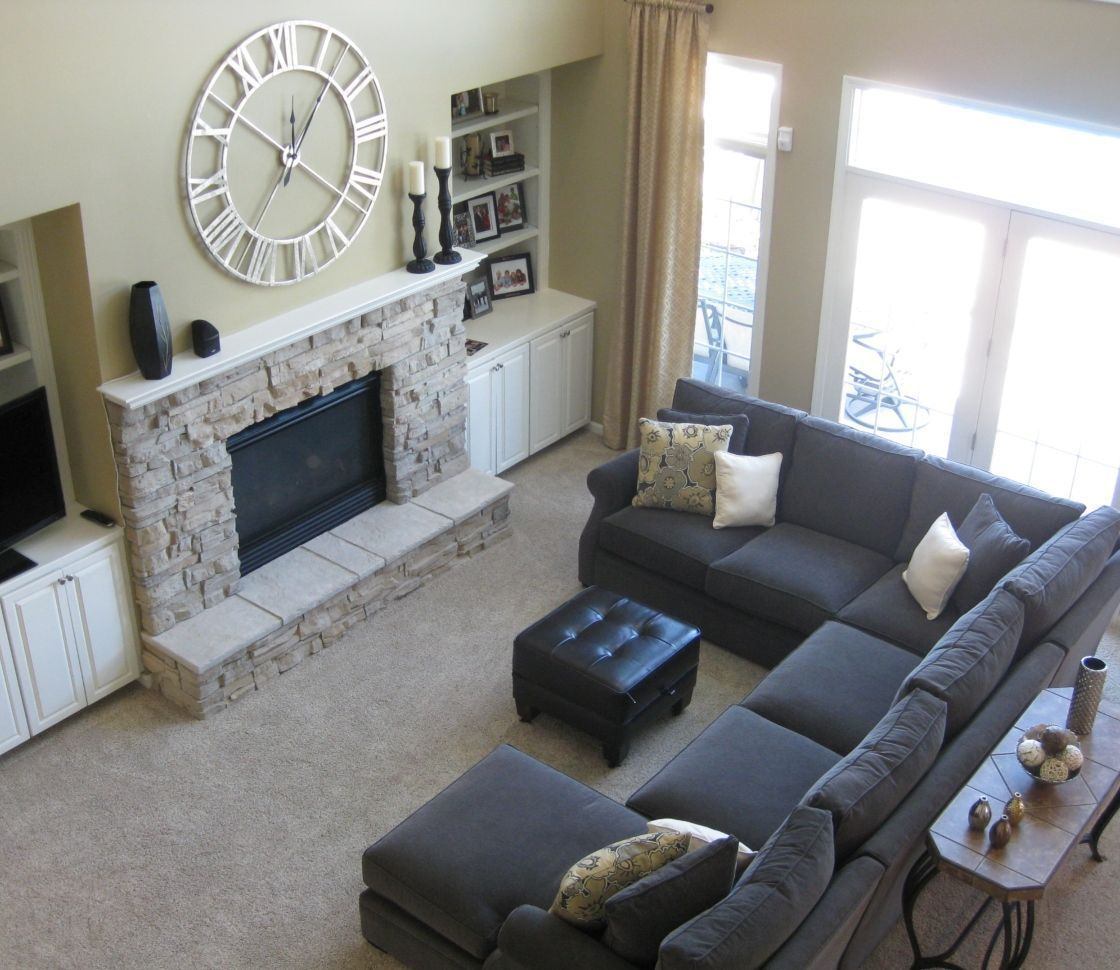 Charming cheap sectional sofa ideas for minimalist small living room with the features dark grey fabric u shaped sofas placed in front of fireplace