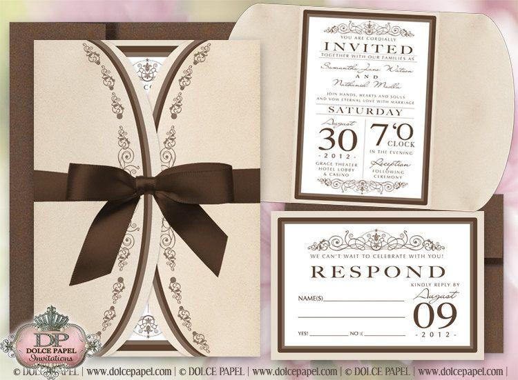 Pocketfold Wedding Invitations Wholesale: Champagne Vintage Metallic Ivory And Chocolate Pocket Fold