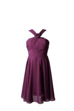 Winey Bridal Purple Flower Chiffon Short Simple Cheap Bridal Party Bridesmaid Dresses,
