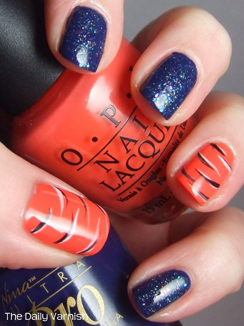 orange and blue nail art for auburn fans | auburn nail art