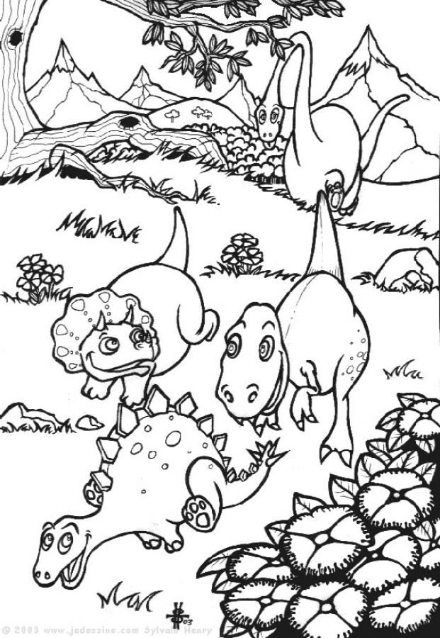 Baby dinosaurs : stegosaurus, tyrannosaurus ... coloring page ...