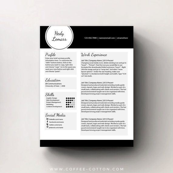 INSTANT DOWNLOAD RESUME TEMPLATE & COVER LETTER    Editable Microsoft Word .doc/.docx files  Hedy Lemarr Design    A unique and professional resume