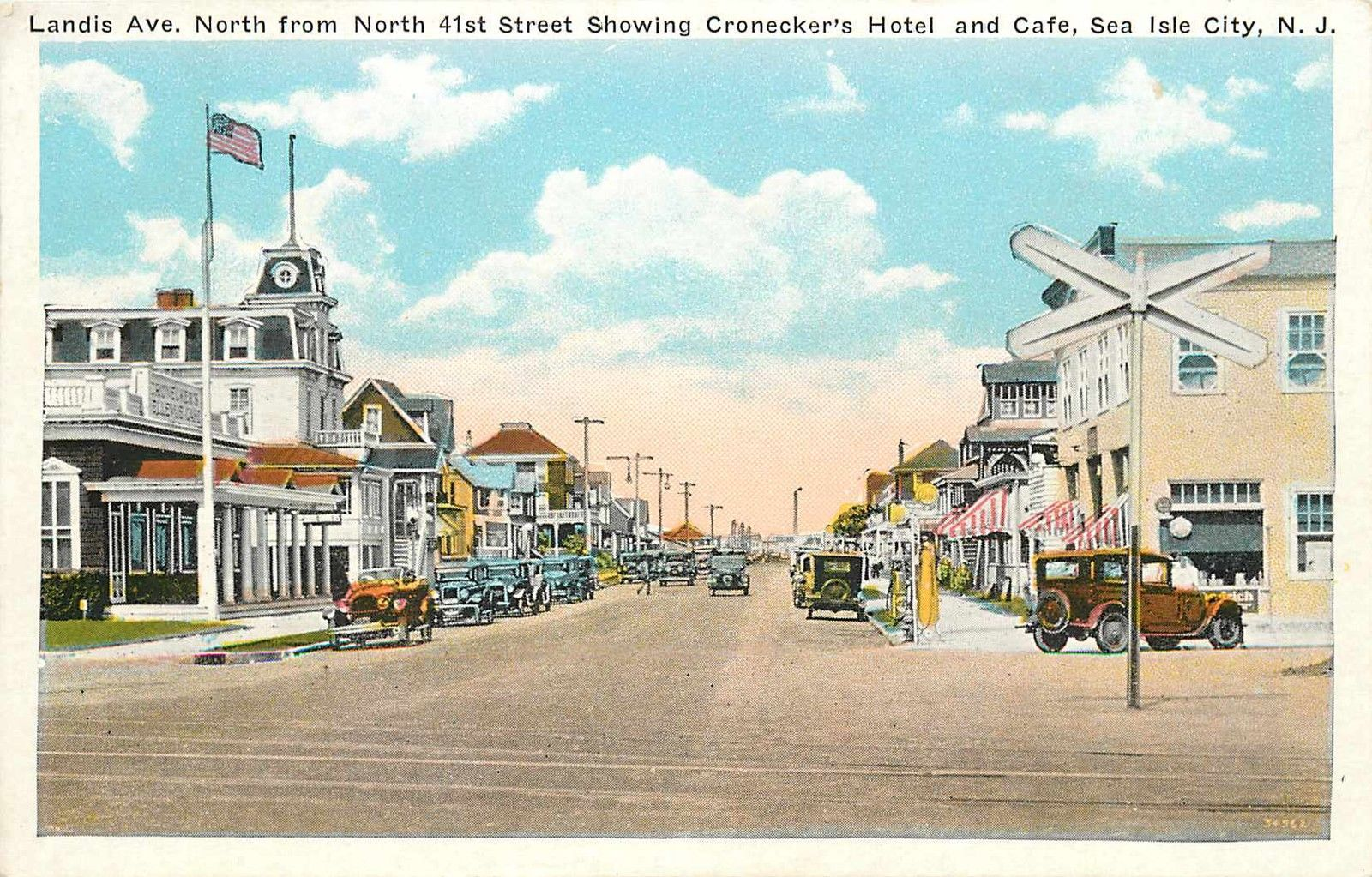 Cronecker S Hotel Landis Avenue Sea Isle City Nj Scarce Old Postcard 1920